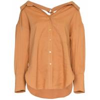 Rejina Pyo Drop Shoulder Collared Shirt Blouse - Marrom