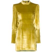 De La Vali Vestido Jane De Veludo Mini - Amarelo