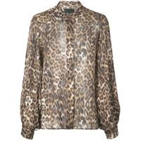 Nili Lotan Leopard Print Shirt - Marrom