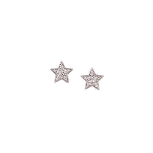 Imagem de Alinka Par de brincos mini 'Stasia Star' de ouro branco 18k com diamantes - Metálico