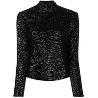 In The Mood For Love Sequin Roll Neck Top - Preto