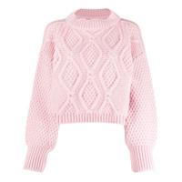 I Love Mr Mittens Suéter Cropped De Tricô Com Textura - Rosa