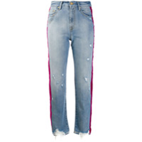 Don't Cry Calça Jeans Cropped Com Listra Lateral - Azul