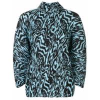Solace London Blusa Animal Print Com Pregas - Azul