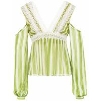 Patbo Blusa Listrada Com Renda - Verde