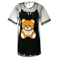 Moschino Vestido Teddy Bear Com Tule - Preto