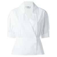 Fendi Camisa Transpassada Mangas Curtas - Branco