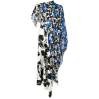 Roland Mouret Vestido Evasê Assimétrico Color Block - Azul