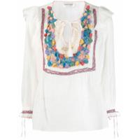 Antik Batik Blusa Com Recorte De Crochê - Branco