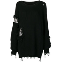 Almaz Suéter Oversized Destroyed - Black