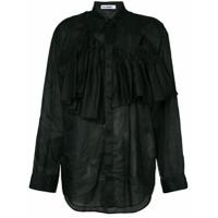 Jil Sander Camisa Assimétrica Com Babado - Preto