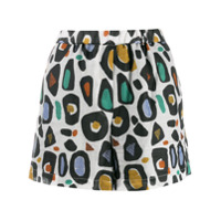 Tela Short Com Animal Print - Branco