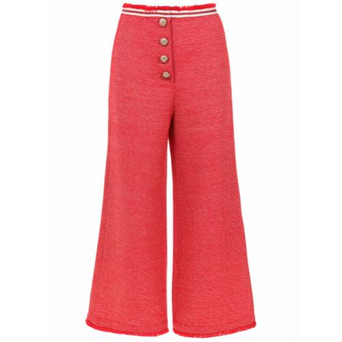 Nk Calça pantacourt com botões - Vermelho