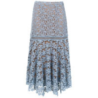 Michael Michael Kors Saia Midi 'floral Lace' - Azul