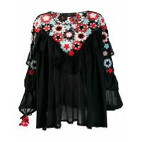 Alanui Blusa Com Recorte De Crochê Floral - Preto