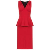 Reinaldo Lourenço Vestido Midi Peplum - Vermelho