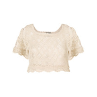 Alberta Ferretti Crochet Cropped Top - Neutro