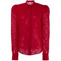 Magda Butrym Longsleeved Lace Shirt - Vermelho
