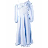 Alexa Chung Vestido Assimétrico Risca De Giz - Azul