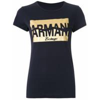 Armani Exchange T-Shirt Slim Fit Com Estampa - Azul