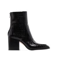 Aeyde Ankle Boot Lidia Com Efeito Crocodilo - Preto