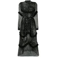 Jovonna Vestido Evasê Com Estampa De Estrela - Preto