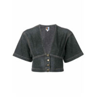Jean Atelier Kimono Cropped Denim Blouse - Cinza
