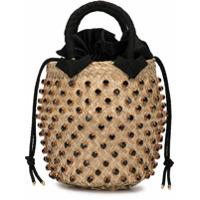 Le Nine Crystal Embellished Bucket Bag - Marrom