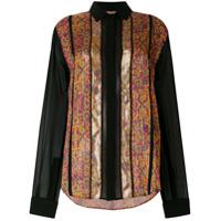 Saint Laurent Camisa De Seda Com Bordado - Estampado