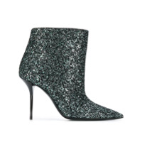 Saint Laurent Ankle Boot De Couro Com Glitter - Verde