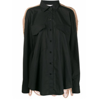 Pushbutton Contrast Shirt - Preto