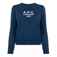 A.p.c. Blusa De Tricô Com Logo - Azul