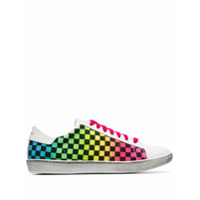 Amiri White Viper Rainbow Check Low-Top Leather Sneakers - Branco