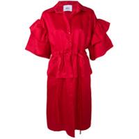 Atu Body Couture Vestido Midi Com Mangas Bufantes - Vermelho