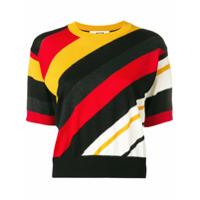Msgm Striped Knitted Top - Preto
