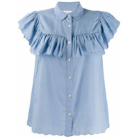 The Great. Scalloped Hem Ruffle Shirt - Azul