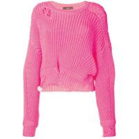 Diesel Suéter Efeito Desgastado - Rosa