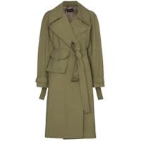 Low Classic Trench Coat Com Cinto - Verde