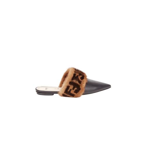 Imagem de Fendi Mule 'Sabot' de couro com pele - Preto