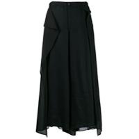 Yohji Yamamoto Calça Cropped Com Sobreposição - Preto