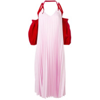 Atu Body Couture Vestido Com Pregas Color Block - Rosa