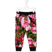 Dolce & Gabbana Kids Calça com estampa de rosas - Preto