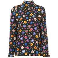 Lhd Camisa Com Estampa Floral De Seda - Preto