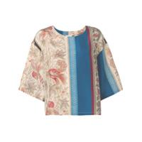 Pierre-Louis Mascia Blusa Color Block Floral - Neutro
