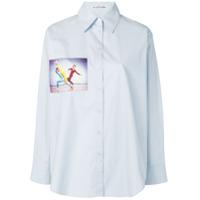 Acne Studios Camisa Detalhe De Estampa - Azul