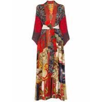 Rianna + Nina Kimono Volant De Seda Com Cinto - Multicoloured