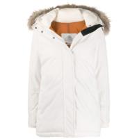 Pyrenex Casaco Com Acabamento De Pele E Capuz - Branco