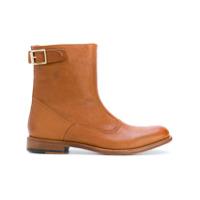 Paul Smith Ankle Boot De Couro Com Detalhe De Fivela - Marrom