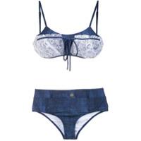 Amir Slama Biquíni Jeans Com Renda - Azul