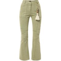 Hyein Seo Calça Jeans Flare Cropped Com Tassel - Verde